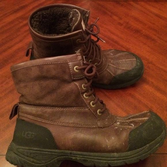 877ea11c893 Ugg brown leather men winter boots fur snow 10.5