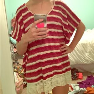 JEM Sweaters - White and red striped poncho