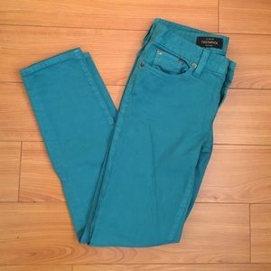 Teal J Crew toothpick ankle jeans
