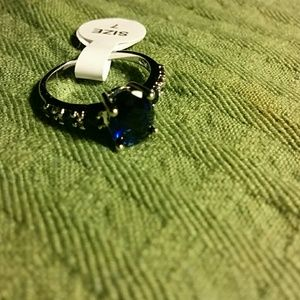 Jewelry - Blue sapphire and white topaz Sterling Silver ring