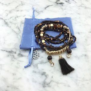 Multi Layer Boho Tassel Charm Beaded Bracelet Set