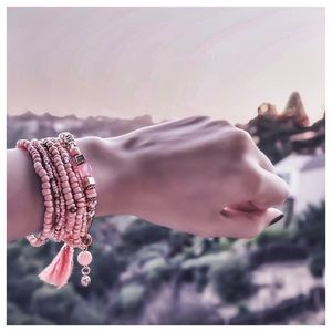 Multi Layer Color Tassel Charm Beaded Bracelet Set