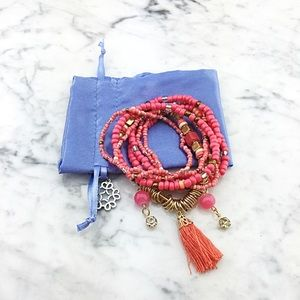 Multi Layer Coral Tassel Charms Bead Bracelet Set