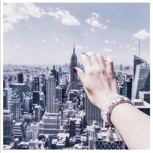 Multi Layer Grey Tassel Charm Beaded Bracelet Set