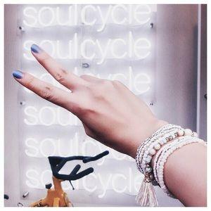 Multi Layer White Tassel Charm Beaded Bracelet Set