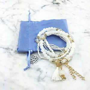 Multi Layer Tassel Chain Charm Beaded Bracelet Set