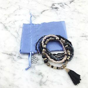 Black Tassel Charm Beaded Bracelet Set Multi Layer