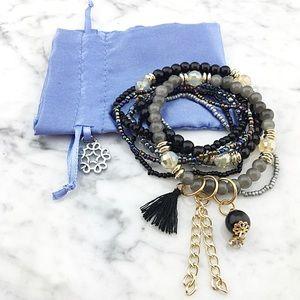 Multi Layer Tassel Charms Beaded Bracelet Set