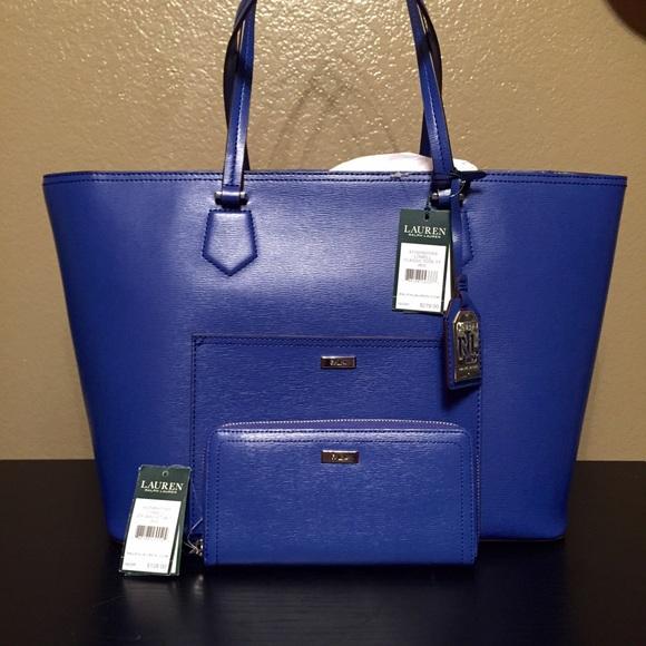 b96f0e35e6 czech handbag women lauren ralph lauren blue 56edd 9466d  sweden nwt ralph  lauren lowell classic tote and wallet e6c3d 7ae35