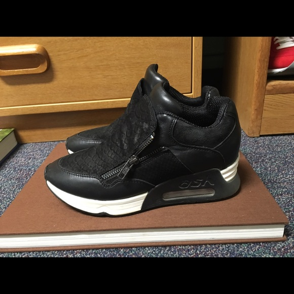 7a47a186059 Ash Shoes - Ash Lucky Women s Wedge Sneaker Black Leather