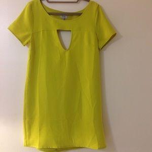 Tobi Dresses & Skirts - Tobi Chartreuse Triangle Cut Out Shift Dress
