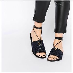 Asos Shoes - 🌟ASOS FETCH Leather Tie Leg Sandals in black sz.9