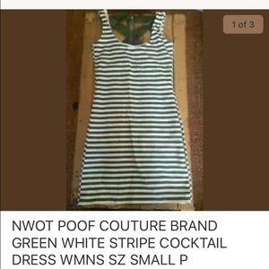 Poof Couture Dresses & Skirts - NWOT POOF COUTURE GREEN WT STRIPE COCKTAIL DRESS S