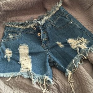 Pants - NWOT Distressed button-fly denim shorts