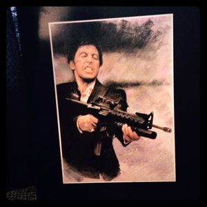 """SCARFACE Wood plaque""""SAY HELLI TO MY LIL FREIND"""""""