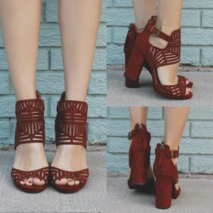 Shoes - Whiskey geometric perforated suede heels