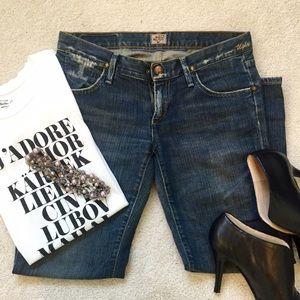 Goldsign Denim - Goldsign Indigo Denim Distressed Cropped Jeans