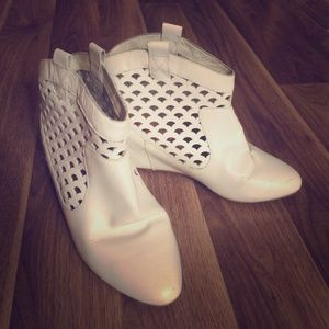 White leather 80/20 laser cut booties