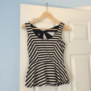 Tops - Black and White Stripe Peplum Top with Crossback