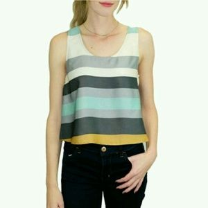 Relished Tops - 🎉HP🎉 NWT satin stripe cropped tank