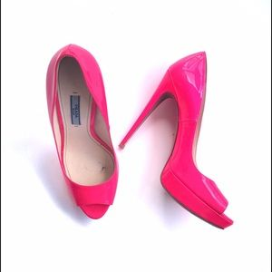 Prada Neon Pink Heels Patent Leather Pumps SZ 39