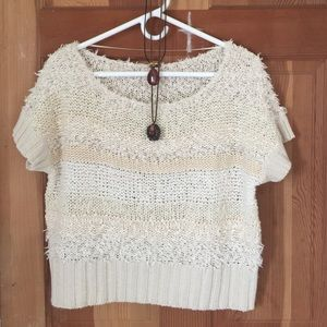Free People Cream Cropped Knit Sweater L