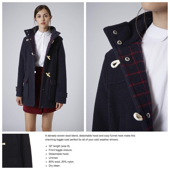 69% off Topshop Jackets & Blazers - Hooded Toggle Duffle Coat from ...