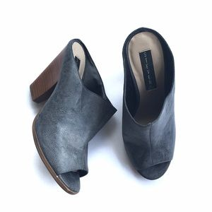 Steven by Steve Madden Gray Leather Mule Heels 8