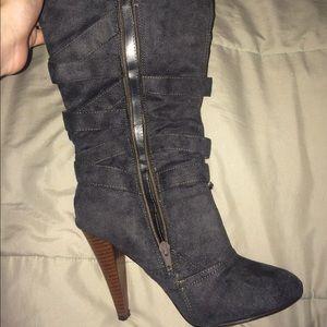 Mid calf heeled boots