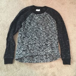 black and grey marled chunky knit sweater