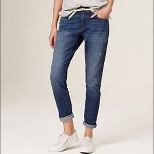 Loft dark washed relaxed skinny crop jeans