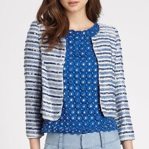 Alice + Olivia Beaded & Sequin Striped Jacket