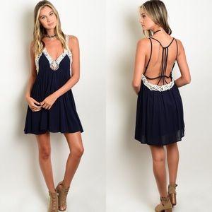 Boutique Dresses & Skirts - 🎉HP🎉 Navy Crochet Trim Strappy Open Back Dress