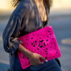 Hot neon pink & black laser cut envelope clutch