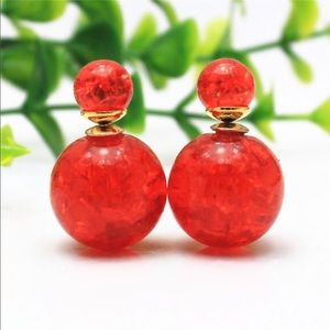 Jewelry - Red Cracked Earrings