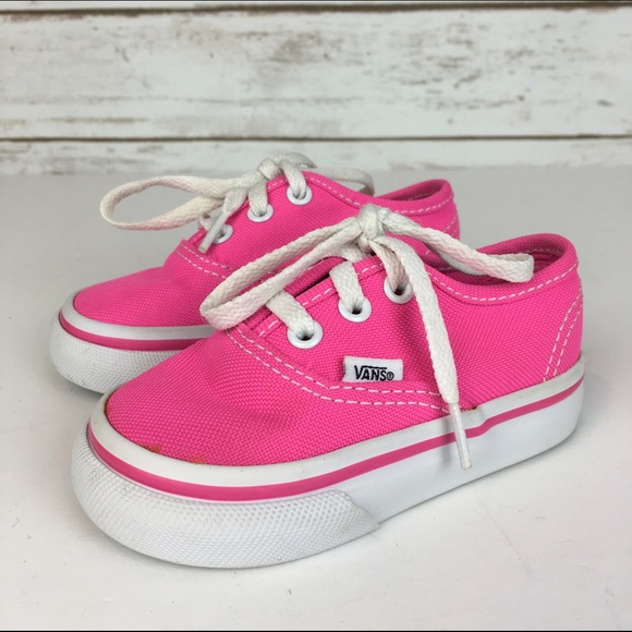67fe5ae95bf0  Vans  Toddler Girls 4 T Hot Pink Lace Up Shoes