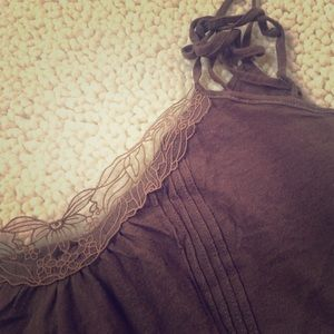A&F chocolate cami with lace detail