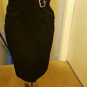 Briggs Dresses & Skirts - Black pencil skirt w/buckle accents Sz 6