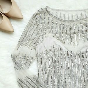 {JS Collections} 3/4 Sleeve Beaded Formal Dress