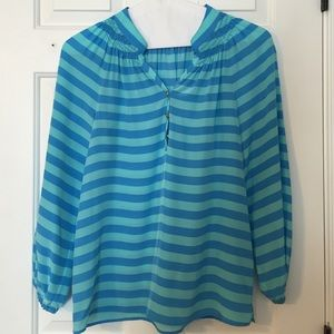 Lilly Pulitzer Blue Striped Silk Blouse
