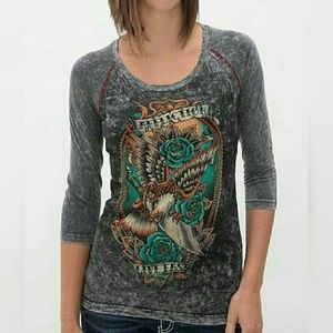 Affliction Tops - Affliction Tattoo 3/4 Sleeve Top