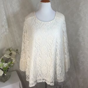 Style & Co Tops - Vintage cream blouse with beautiful lace B15