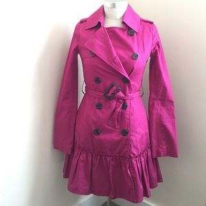 BB Dakota pink trench ruffle coat.