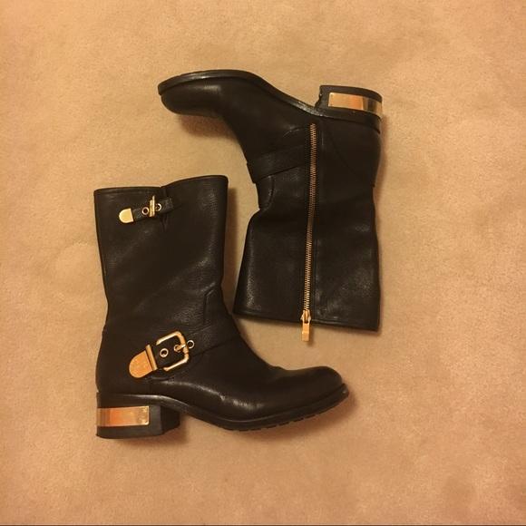 4c4db35a97a97 Vince Camuto black gold buckle boots. M_579d1c727fab3a321b0724ec