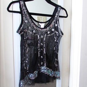 Tops - Black sequin netted overlay