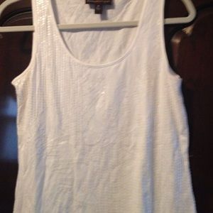 Beautiful sequined whit tank from Dana Buchman