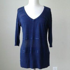 V neck sequin stripe blue pullover sweater top