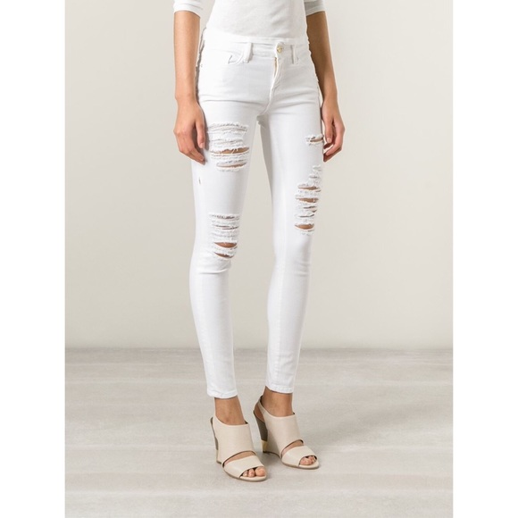 Frame denim Jeans | White Distressed Skinny | Poshmark