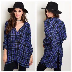 Women's Blue & Black Split Back Plaid Tunic