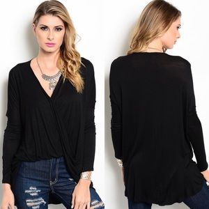 Black Long Sleeve Draped Wrap Front Hi-Low Top